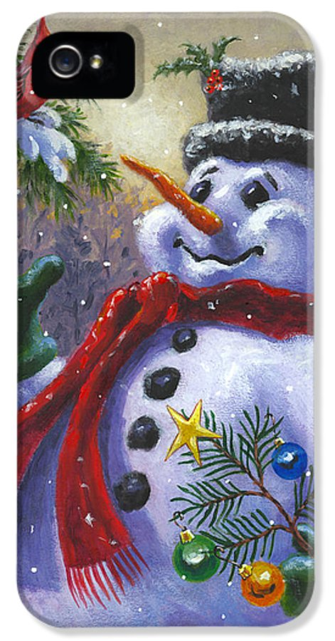 Snowman IPhone 5 Case featuring the painting Seasons Greetings by Richard De Wolfe