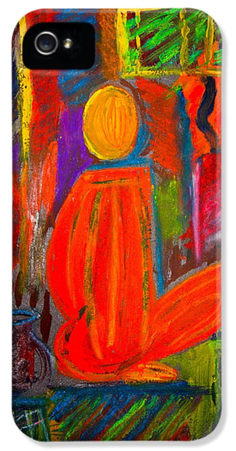 Abstract IPhone 5 Case featuring the painting Seated Monk by Nirdesha Munasinghe