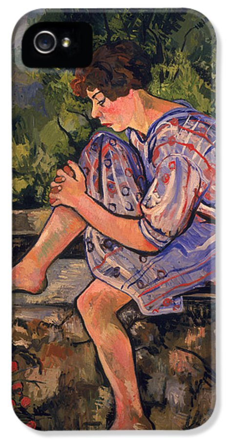Sitting IPhone 5 Case featuring the painting Seated Young Woman by Marie Clementine Valadon
