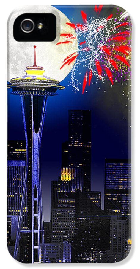 Seattle Skyline IPhone 5 Case featuring the painting Seattle Skyline by Methune Hively