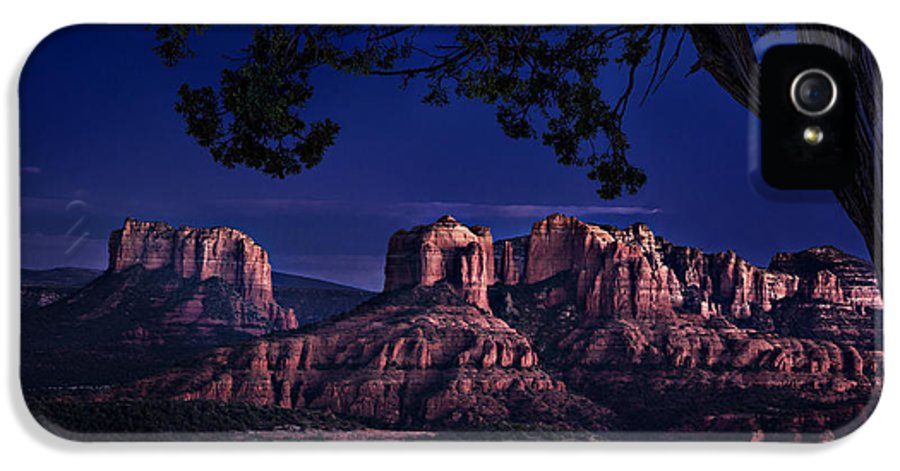 Sedona IPhone 5 Case featuring the photograph Sedona Cathedral Rock Post Sunset Glow by Mary Jo Allen