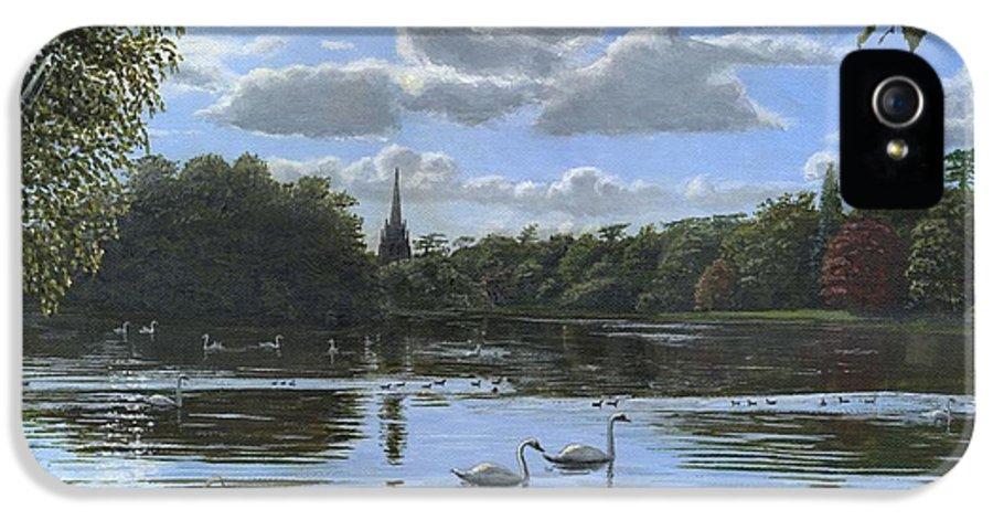 Landscape IPhone 5 Case featuring the painting September Afternoon In Clumber Park by Richard Harpum