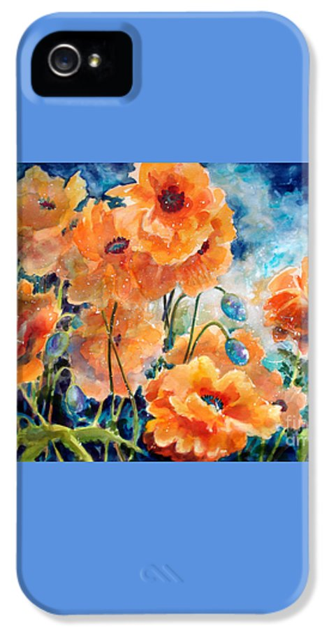 Paintings IPhone 5 Case featuring the painting September Orange Poppies      by Kathy Braud