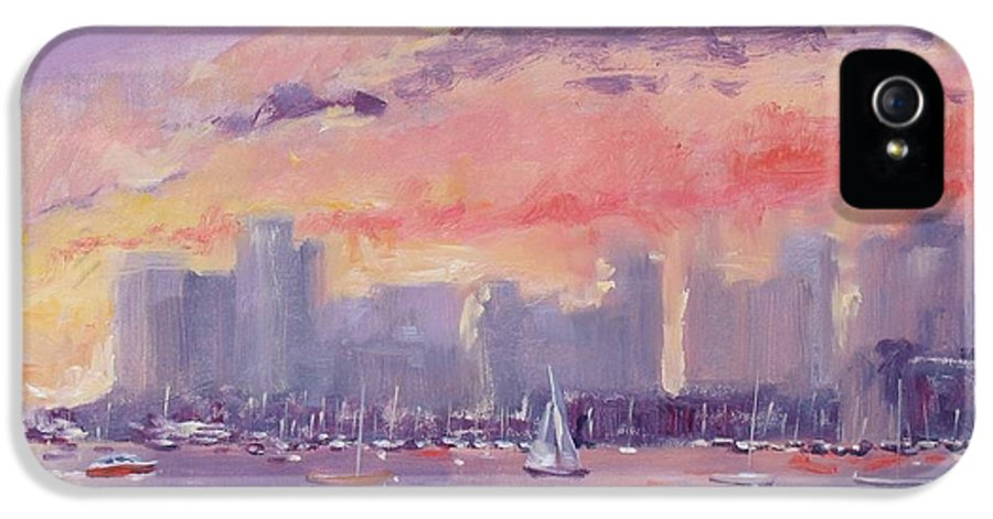 City IPhone 5 Case featuring the painting Setting Sun Over Boston by Laura Lee Zanghetti