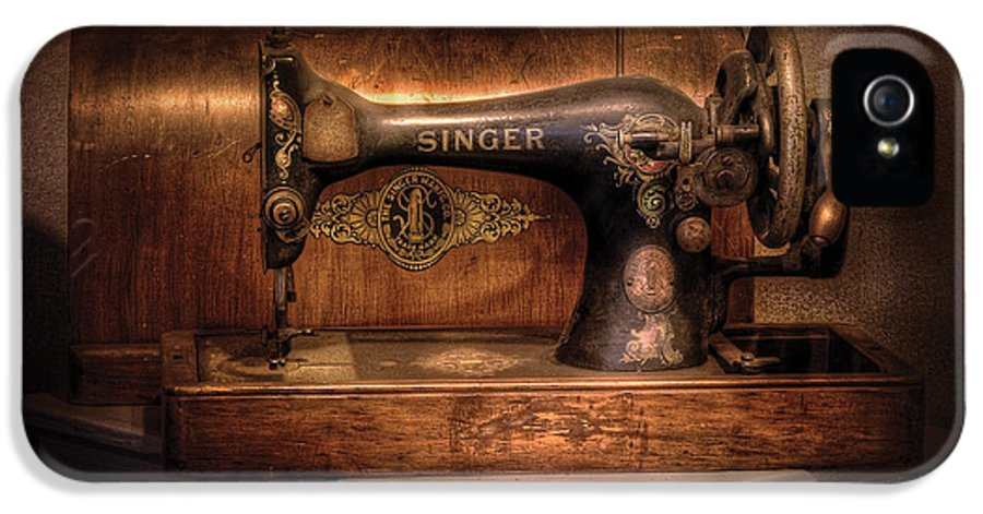 Savad IPhone 5 Case featuring the photograph Sewing Machine - Singer by Mike Savad