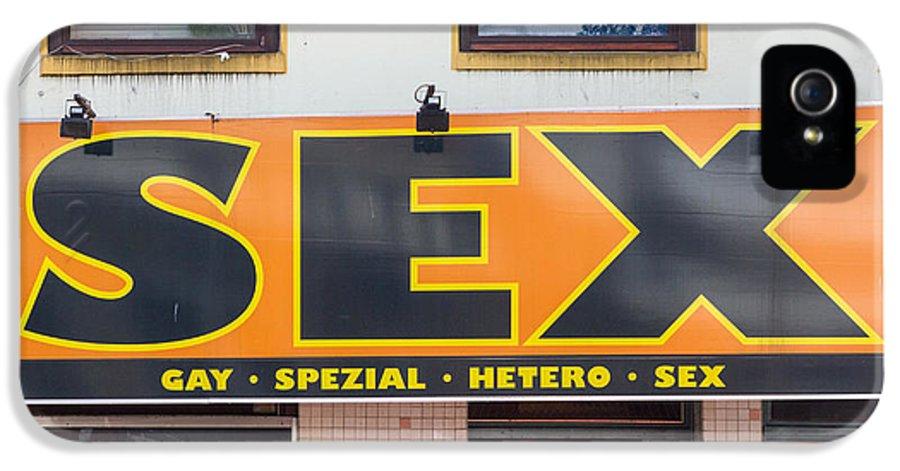 Deutsch IPhone 5 Case featuring the photograph Sex Shop Sign Hamburg by Jannis Werner