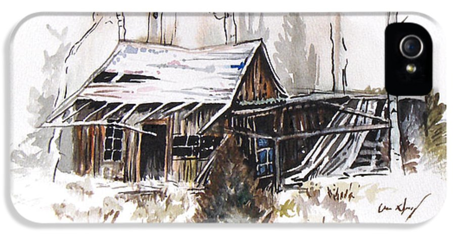 Shack IPhone 5 Case featuring the painting Shack by Aaron Spong