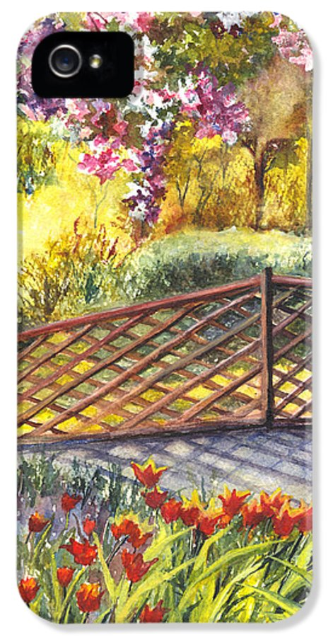 Park IPhone 5 Case featuring the painting Shakespeare Garden Central Park New York City by Carol Wisniewski