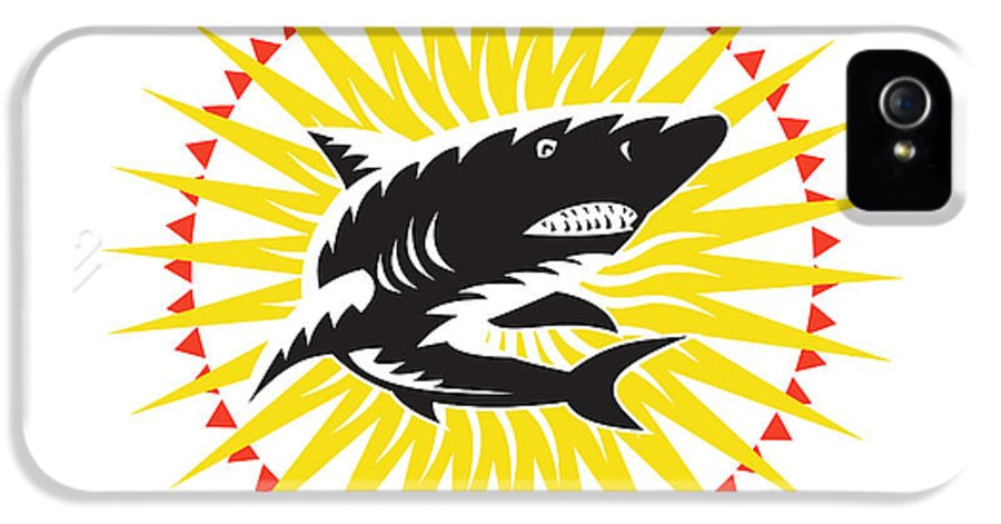 Shark IPhone 5 Case featuring the digital art Shark Swimming Up Sunburst Woodcut by Aloysius Patrimonio