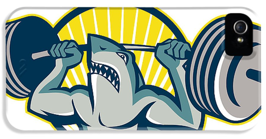 Shark IPhone 5 Case featuring the digital art Shark Weightlifter Lifting Barbell Mascot by Aloysius Patrimonio