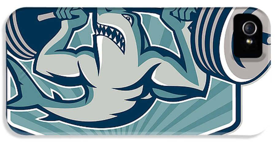 Shark IPhone 5 / 5s Case featuring the digital art Shark Weightlifter Lifting Weights Mascot by Aloysius Patrimonio