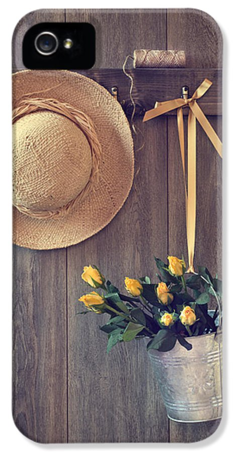 Yellow IPhone 5 Case featuring the photograph Shed Door by Amanda Elwell