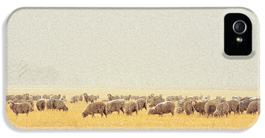 Sheep IPhone 5 Case featuring the digital art Sheep In Snow by Kae Cheatham