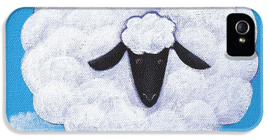 Sheep IPhone 5 Case featuring the painting Sheep Nursery Art by Christy Beckwith