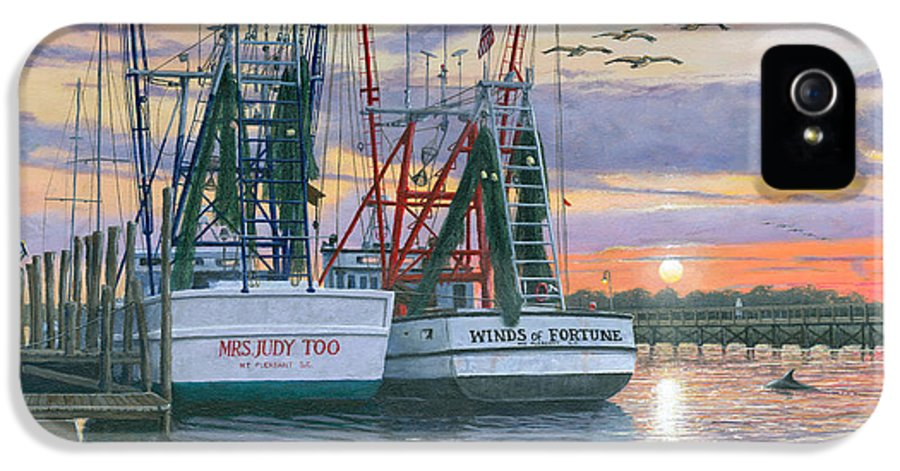 Painting For Sale IPhone 5 Case featuring the painting Shem Creek Shrimpers Charleston by Richard Harpum