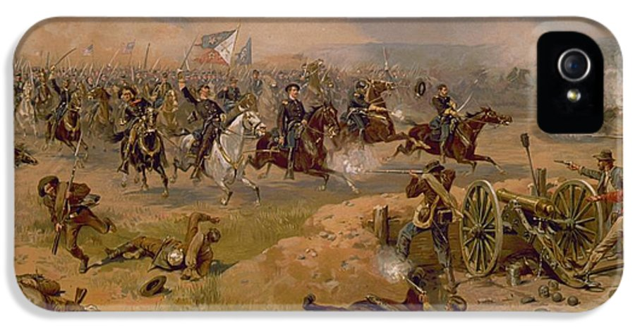 Military IPhone 5 Case featuring the painting Sheridan's Final Charge At Winchester by American School