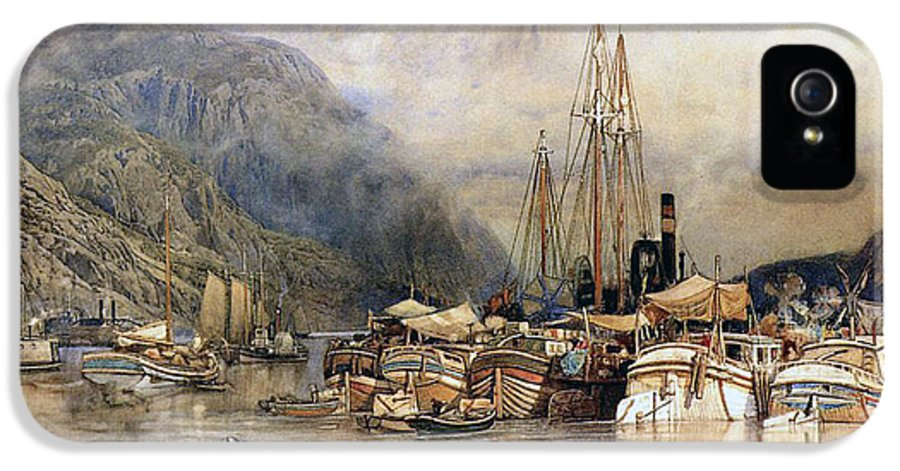 Boat IPhone 5 Case featuring the painting Shipping On The Hudson River by Samuel Colman