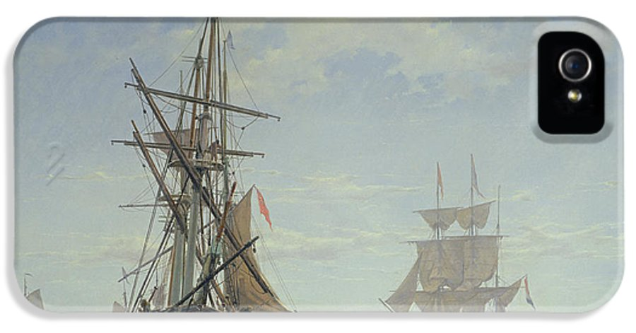 Boat IPhone 5 Case featuring the painting Ships In A Dutch Estuary by WA Van Deventer