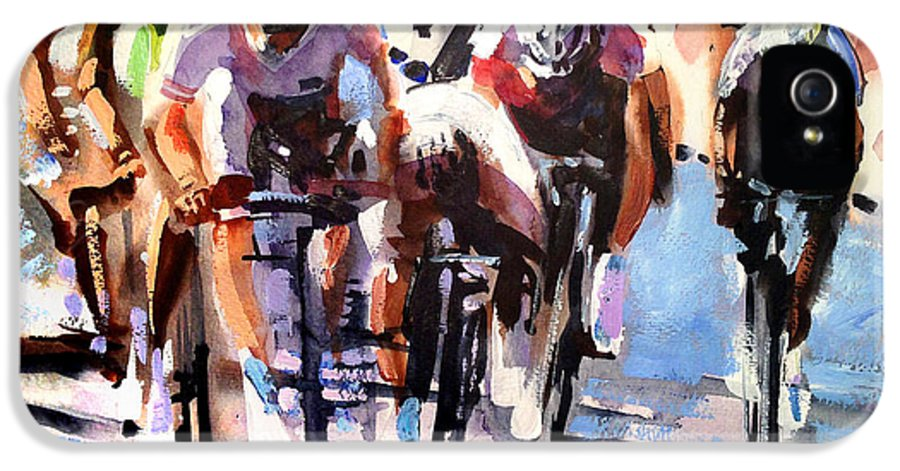 Bike IPhone 5 Case featuring the painting Short Sharp Sprint by Shirley Peters