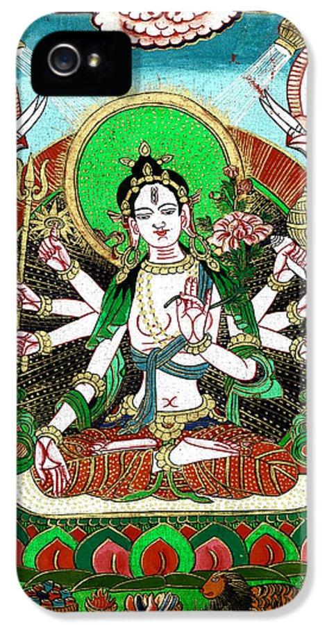 Hindu Goddess IPhone 5 Case featuring the painting Shri Ashtabhuja Mata by Ashok Kumar