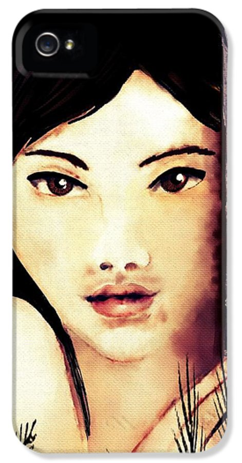 Girl IPhone 5 Case featuring the digital art Shy by Helen Bowman