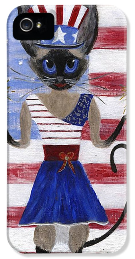 Siamese IPhone 5 Case featuring the painting Siamese Queen Of The U S A by Jamie Frier