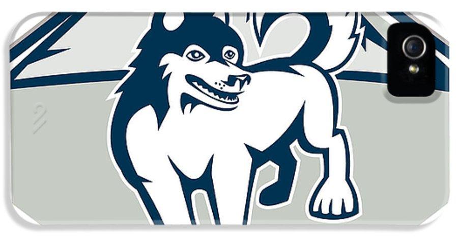 Siberian Husky IPhone 5 Case featuring the digital art Siberian Husky Dog Mountain Retro by Aloysius Patrimonio