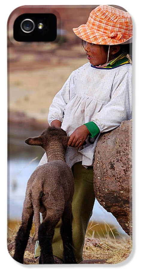 Girl IPhone 5 Case featuring the photograph Sillustani Girl With Hat And Lamb by RicardMN Photography