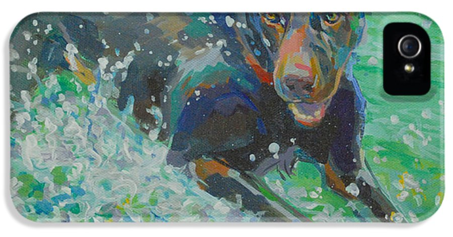 Water Dog IPhone 5 Case featuring the painting Silly Goose by Kimberly Santini
