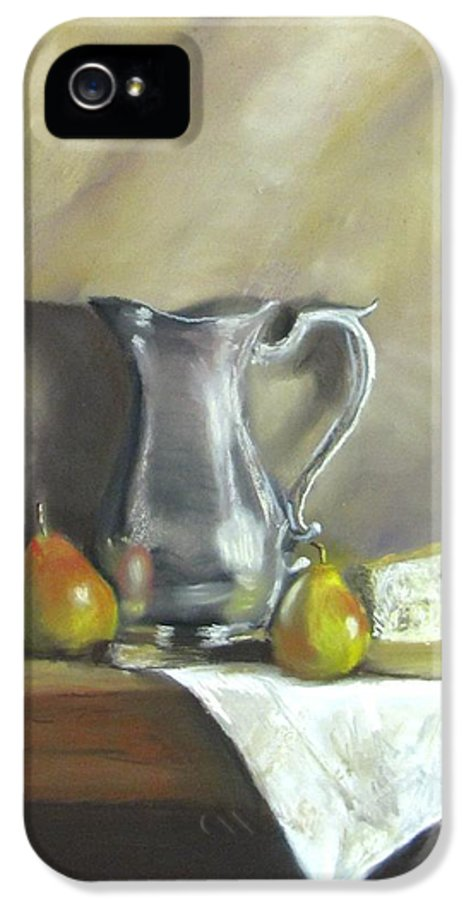 Still Life IPhone 5 Case featuring the painting Silver Pitcher With Pears by Jack Skinner