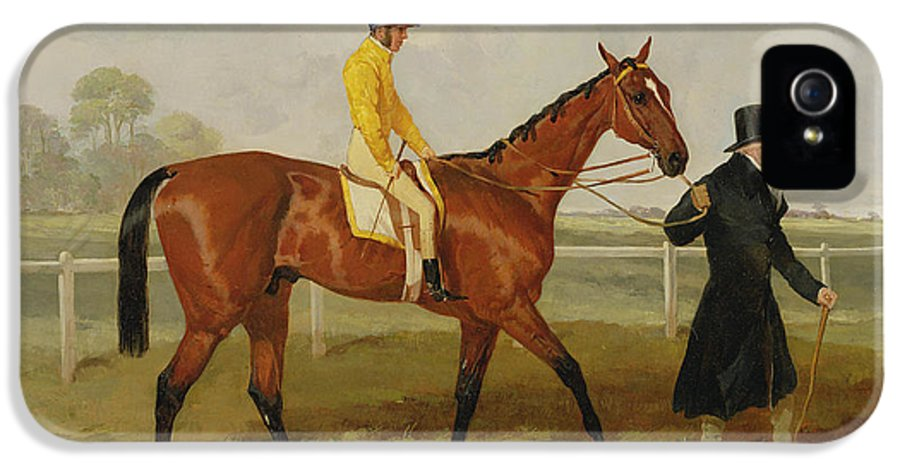 Racing Horse IPhone 5 Case featuring the painting Sir Tatton Sykes Leading In The Horse Sir Tatton Sykes With William Scott Up by Harry Hall