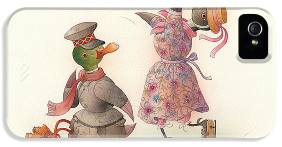 Christmas Winter Greeting Cards Ice Snow Dance Duck Holiday IPhone 5 Case featuring the painting Skating Ducks 10 by Kestutis Kasparavicius