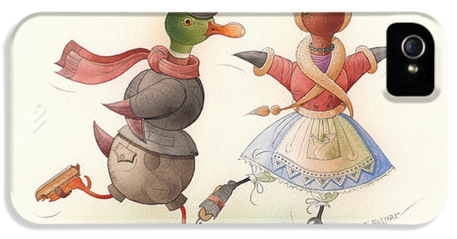 Christmas Winter Greeting Cards Ice Snow Dance Duck Holiday IPhone 5 Case featuring the painting Skating Ducks 7 by Kestutis Kasparavicius