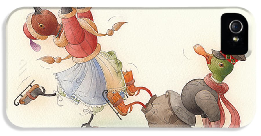 Christmas Winter Greeting Cards Ice Snow Dance Duck Holiday IPhone 5 / 5s Case featuring the painting Skating Ducks 8 by Kestutis Kasparavicius
