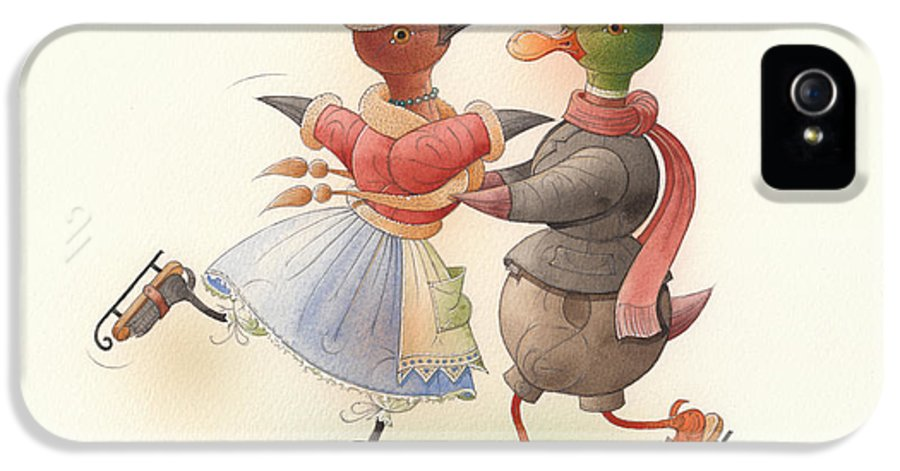 Christmas Winter Greeting Cards Ice Snow Dance Duck Holiday IPhone 5 Case featuring the painting Skating Ducks 9 by Kestutis Kasparavicius