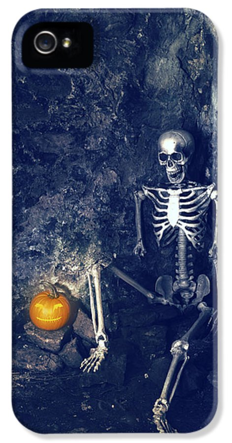 Skeleton IPhone 5 Case featuring the photograph Skeleton With Jack O Lantern by Amanda Elwell