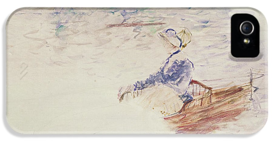 Female IPhone 5 Case featuring the painting Sketch Of A Young Woman In A Boat by Berthe Morisot
