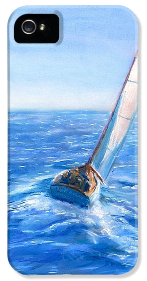 Sailboat IPhone 5 Case featuring the painting Slip Away by Jack Skinner