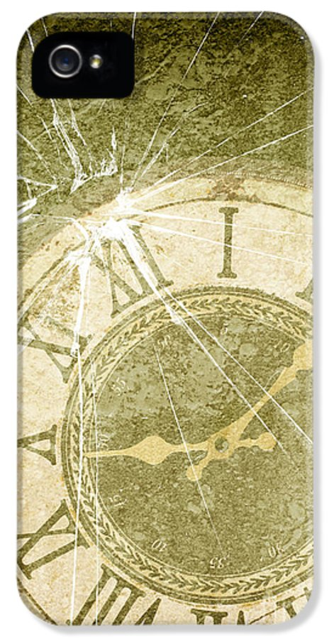 Broken IPhone 5 Case featuring the photograph Smashed Clock Face by Amanda Elwell