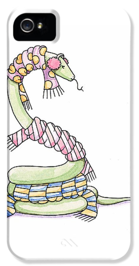 Snake IPhone 5 Case featuring the painting Snake Wearing A Scarf by Christy Beckwith