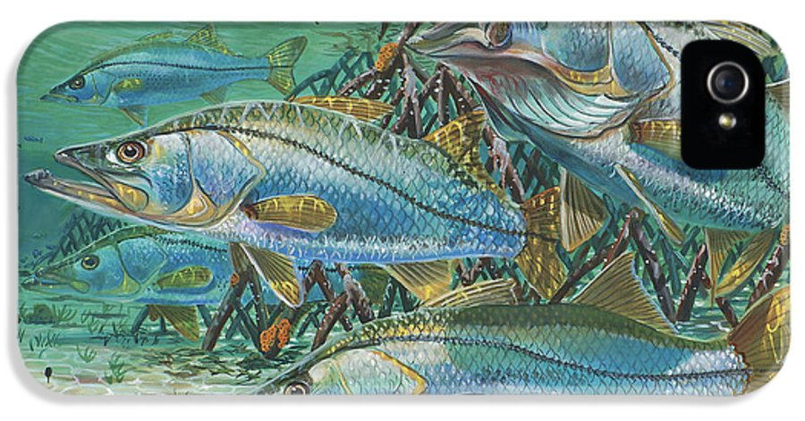 Snook IPhone 5 Case featuring the painting Snook Attack In0014 by Carey Chen