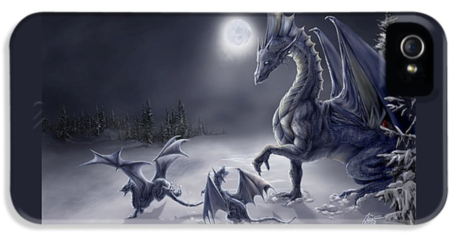 Dragon IPhone 5 Case featuring the digital art Snow Day by Rob Carlos