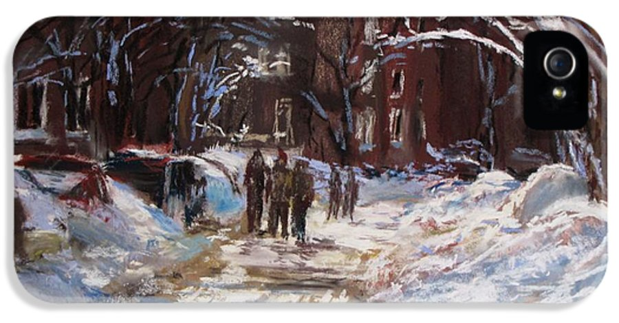 Snow IPhone 5 Case featuring the painting Snow In The City by Jack Skinner