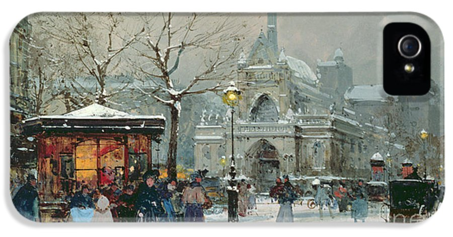 Gas Light IPhone 5 Case featuring the painting Snow Scene In Paris by Eugene Galien-Laloue