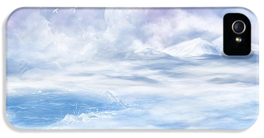 Fantasy IPhone 5 Case featuring the glass art Snow Valley by Nika Lerman