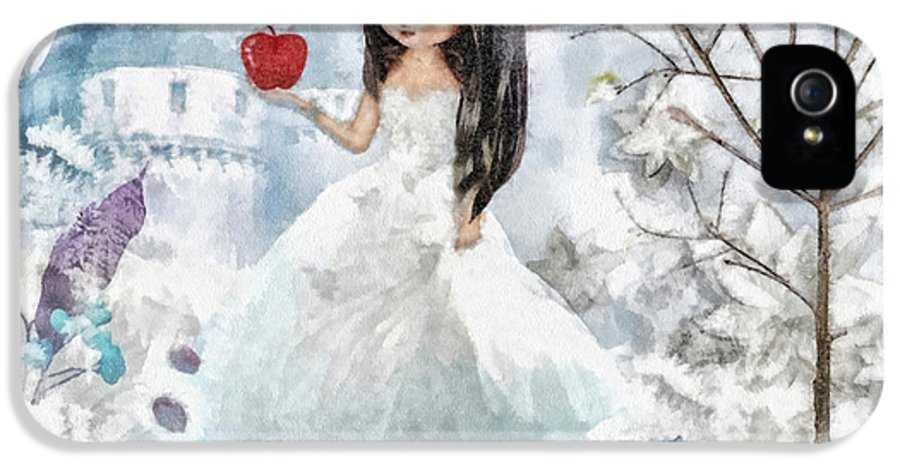 Snow White IPhone 5 Case featuring the mixed media Snow White by Mo T