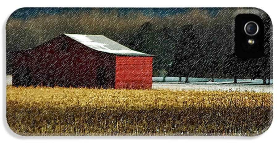 Barn IPhone 5 Case featuring the photograph Snowy Red Barn In Winter by Lois Bryan
