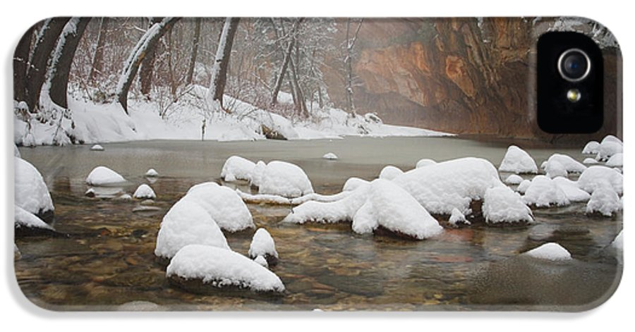 West Fork Oak Creek Canyon IPhone 5 Case featuring the photograph Snowy West Fork by Peter Coskun