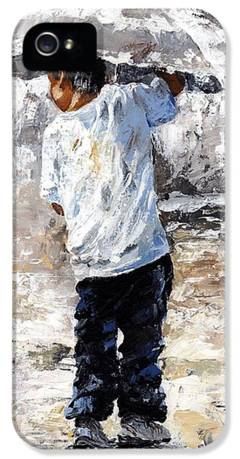 Boy IPhone 5 Case featuring the painting Soaked by Emerico Imre Toth