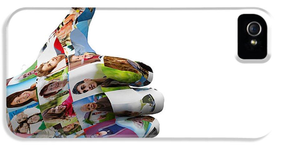 Social IPhone 5 Case featuring the digital art Social Media People Painted Hand In Ok Sign by Michal Bednarek